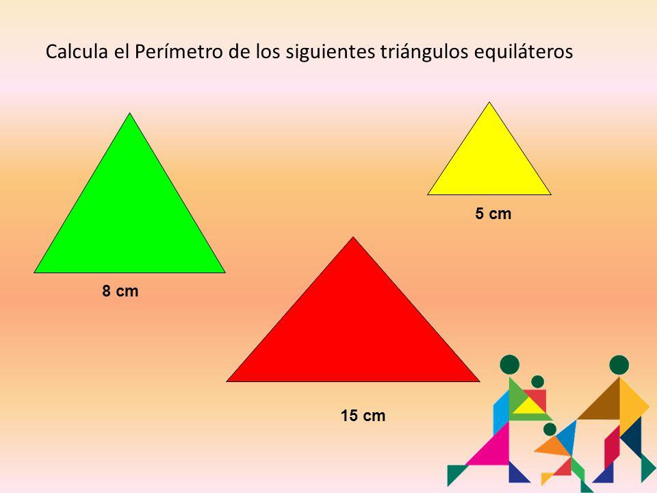 Calcula el Perímetro de los siguientes triángulos equiláteros