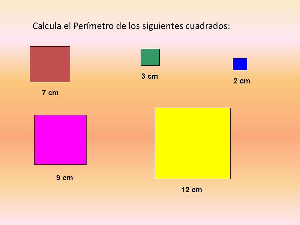 Calcula el Perímetro de los siguientes cuadrados: