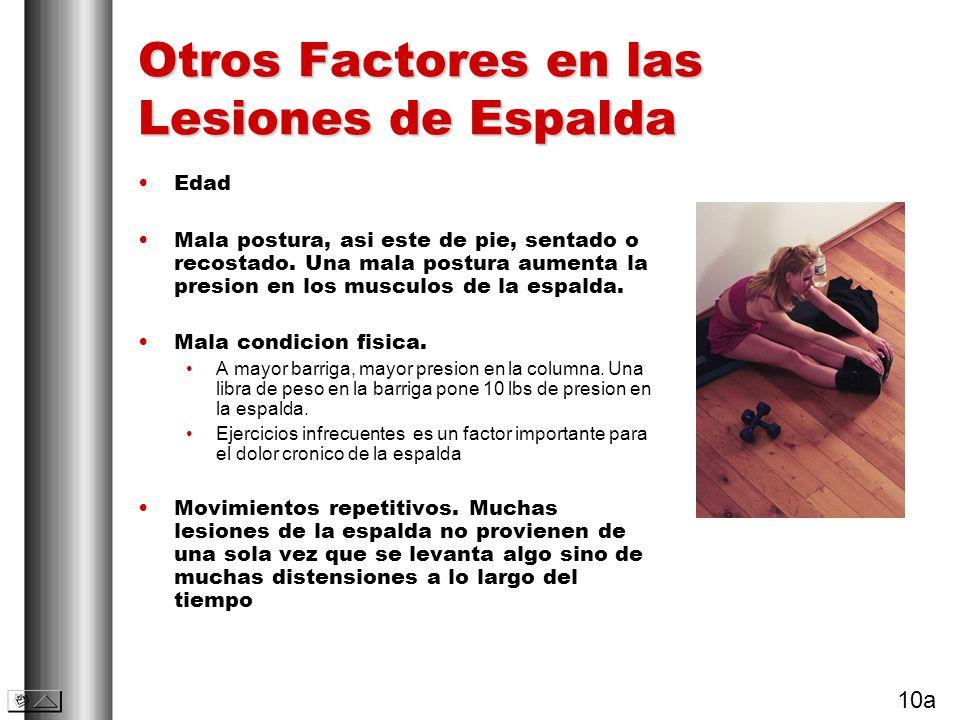 Otros Factores en las Lesiones de Espalda