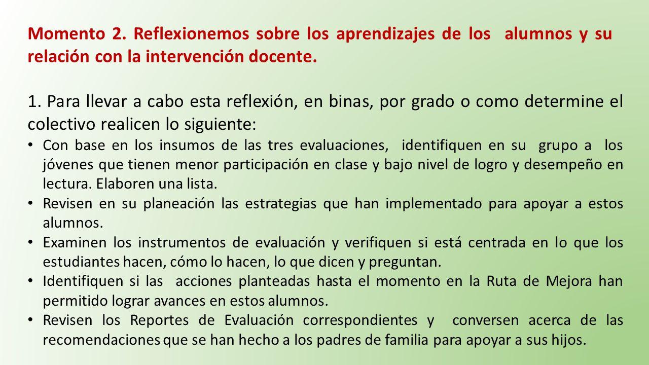 Momento 2. Reflexionemos sobre los aprendizajes de los alumnos y su relación con la intervención docente.