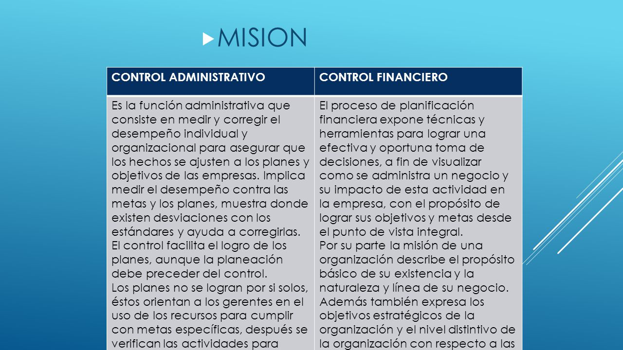 MISION CONTROL ADMINISTRATIVO CONTROL FINANCIERO