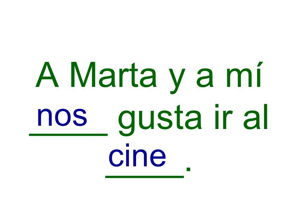 A Marta y a mí ____ gusta ir al ____.