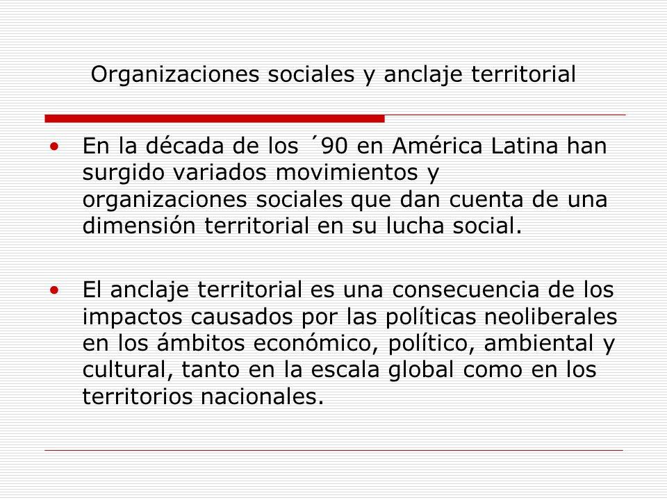 Organizaciones sociales y anclaje territorial