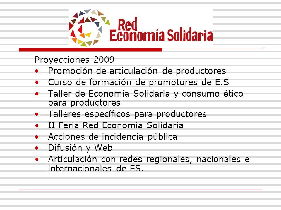 Proyecciones 2009 Promoción de articulación de productores. Curso de formación de promotores de E.S.