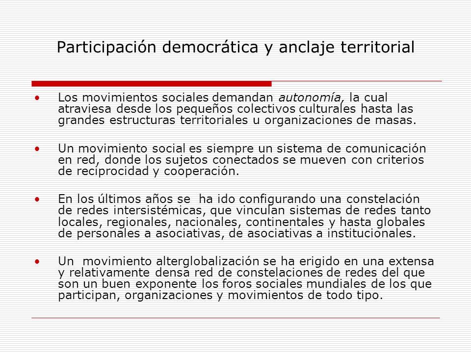 Participación democrática y anclaje territorial