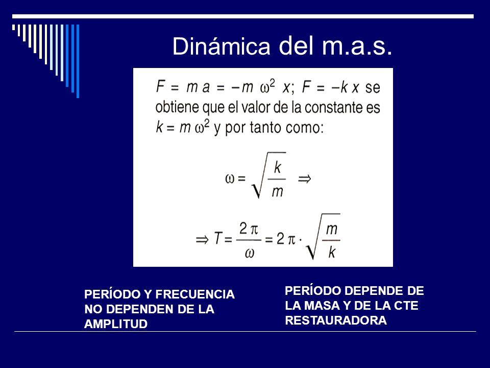 Dinámica del m.a.s. PERÍODO DEPENDE DE LA MASA Y DE LA CTE RESTAURADORA.