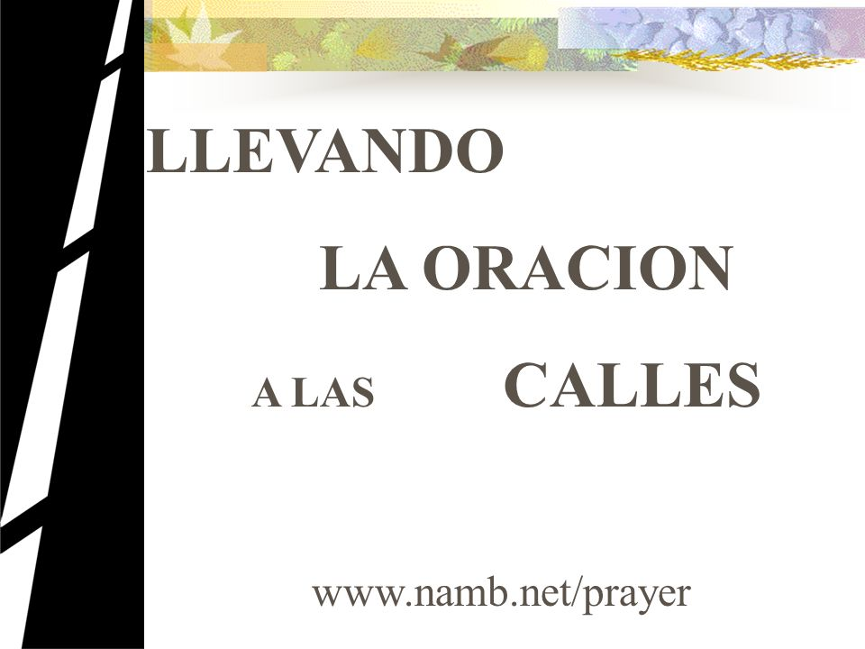 LLEVANDO LA ORACION A LAS CALLES www.namb.net/prayer