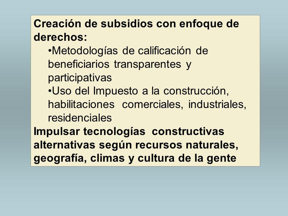 Creación de subsidios con enfoque de derechos: