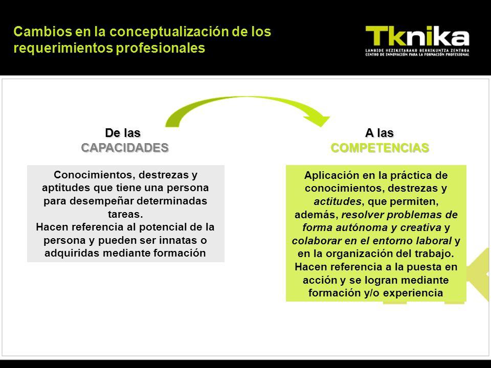 Cambios en la conceptualización de los requerimientos profesionales