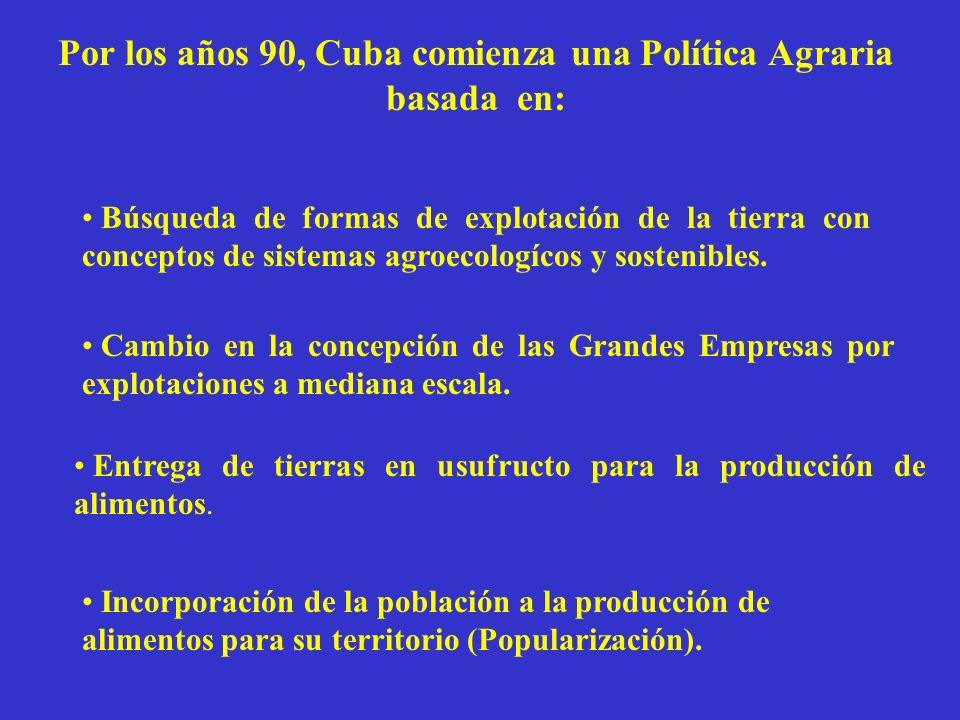 Por los años 90, Cuba comienza una Política Agraria basada en: