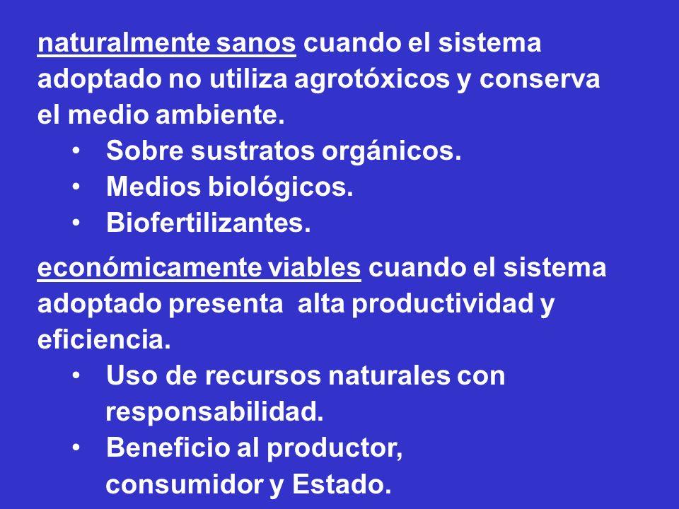 naturalmente sanos cuando el sistema adoptado no utiliza agrotóxicos y conserva el medio ambiente.