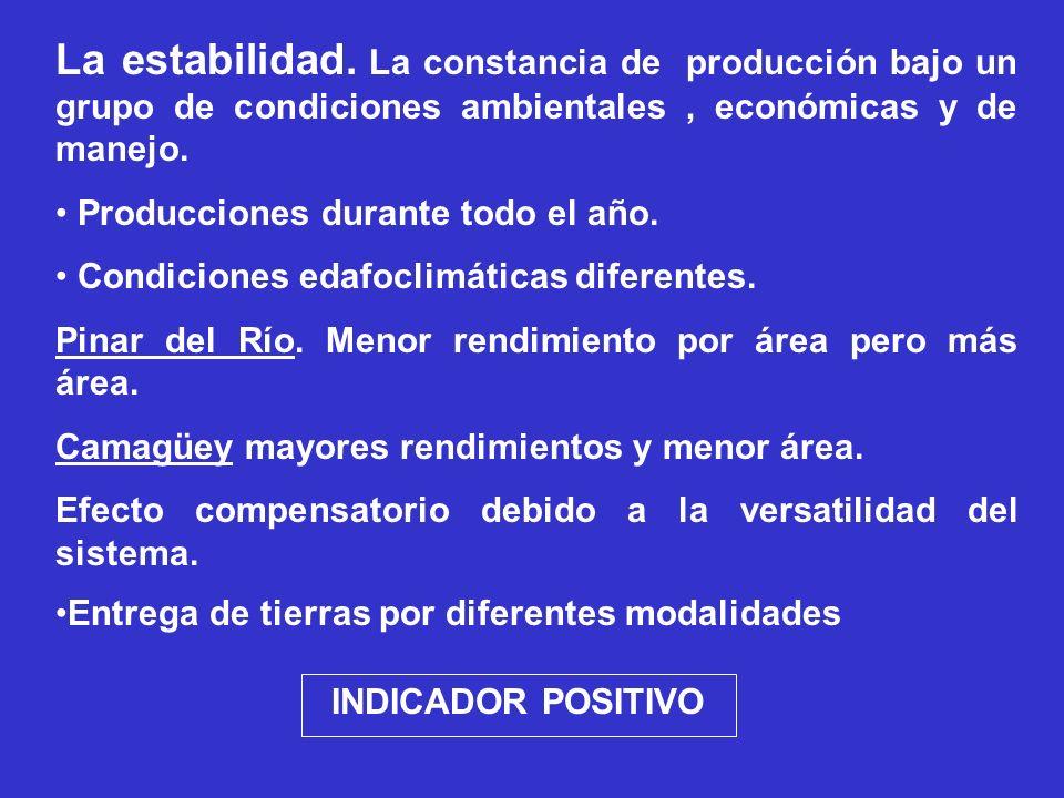 La estabilidad. La constancia de producción bajo un grupo de condiciones ambientales , económicas y de manejo.