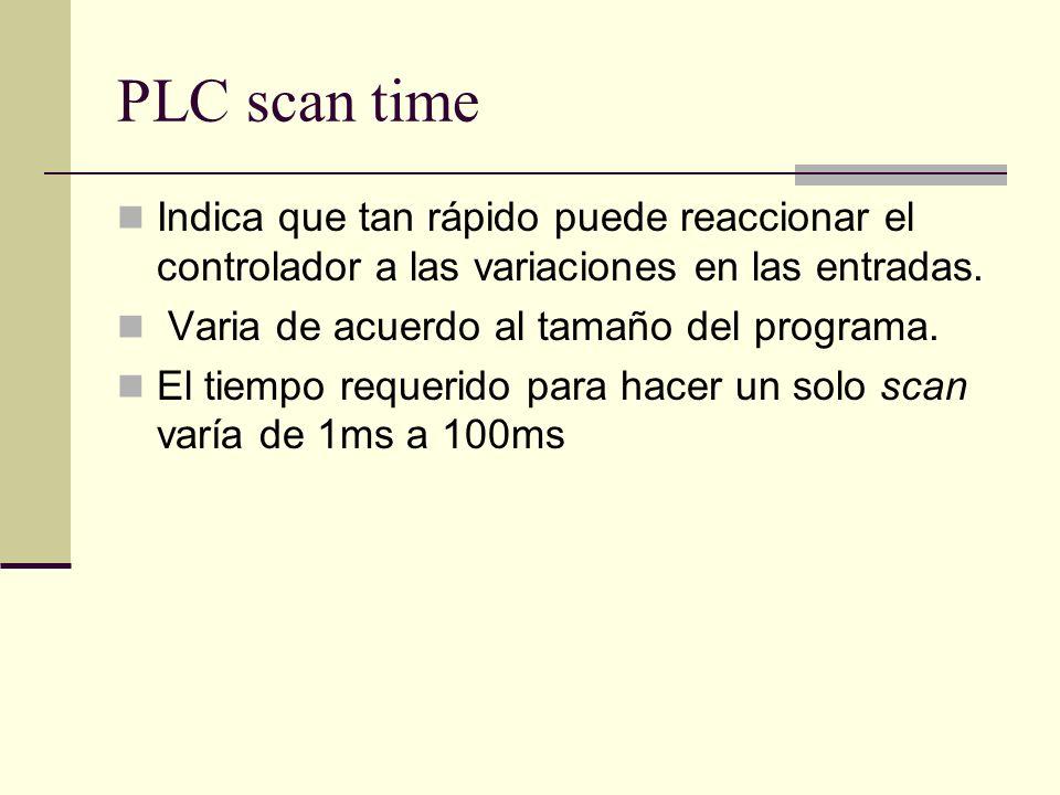 PLC scan time Indica que tan rápido puede reaccionar el controlador a las variaciones en las entradas.