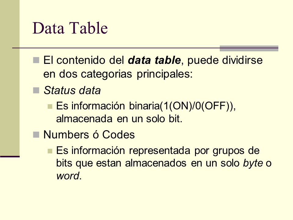 Data Table El contenido del data table, puede dividirse en dos categorias principales: Status data.