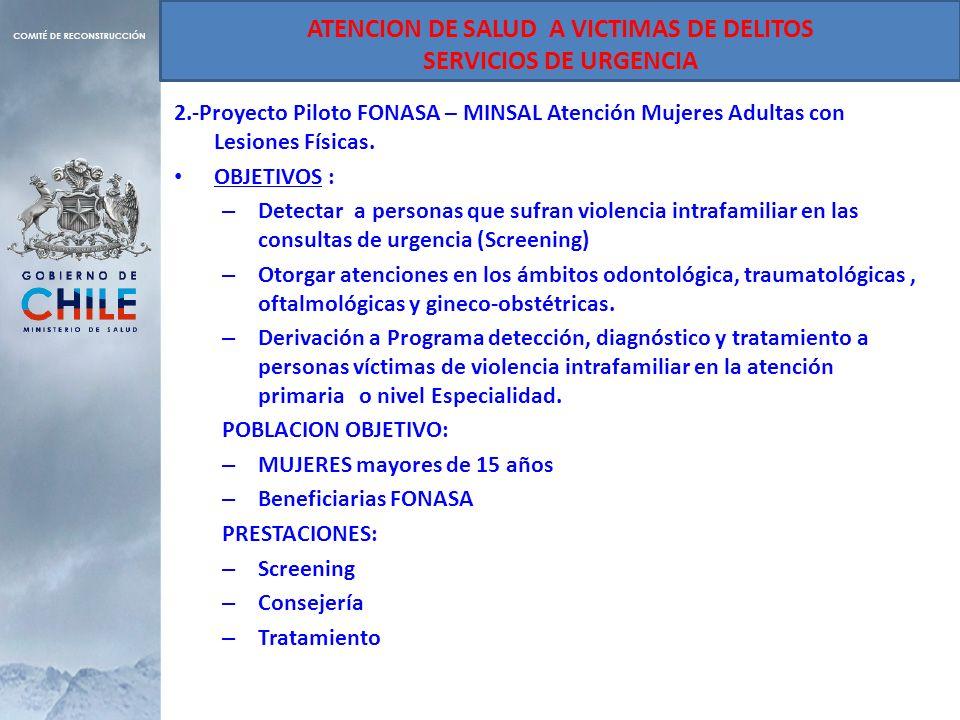 ATENCION DE SALUD A VICTIMAS DE DELITOS SERVICIOS DE URGENCIA