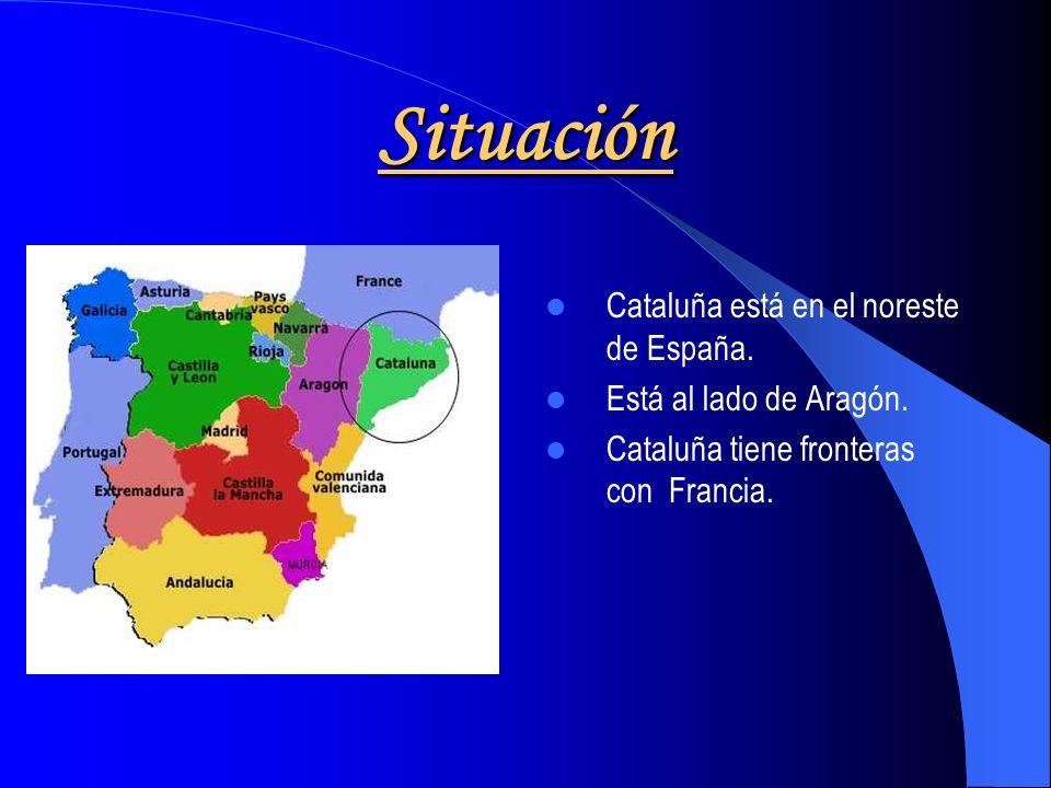 Situación Cataluña está en el noreste de España.