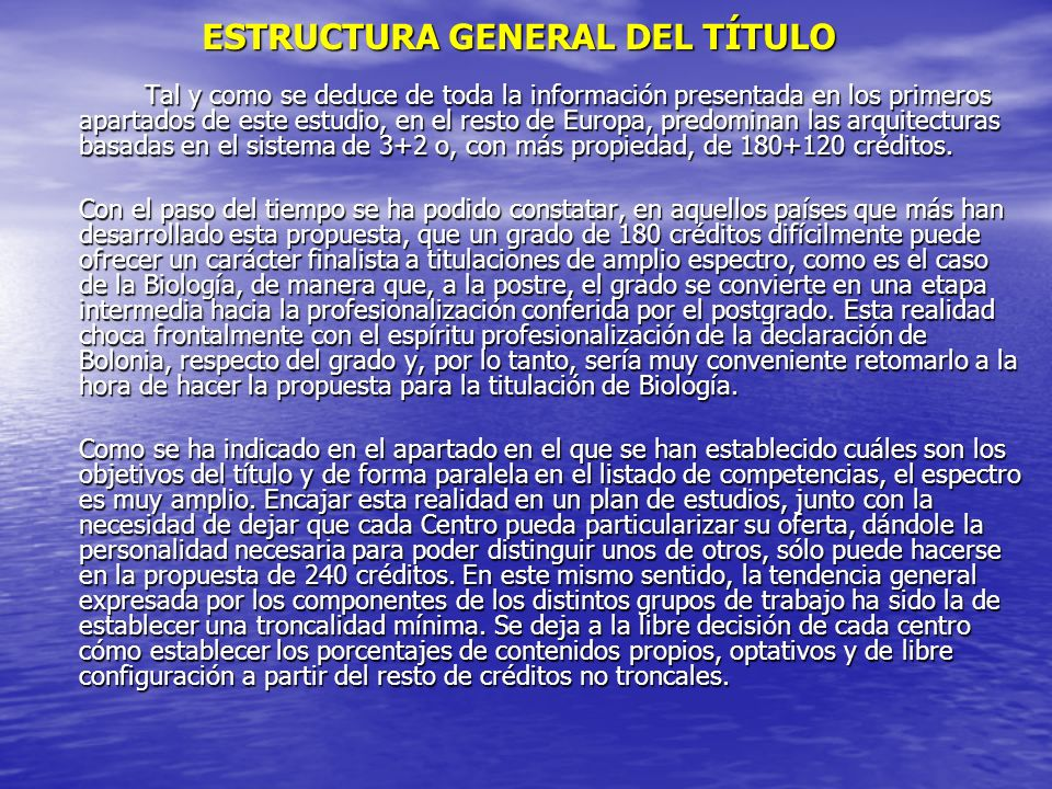 ESTRUCTURA GENERAL DEL TÍTULO
