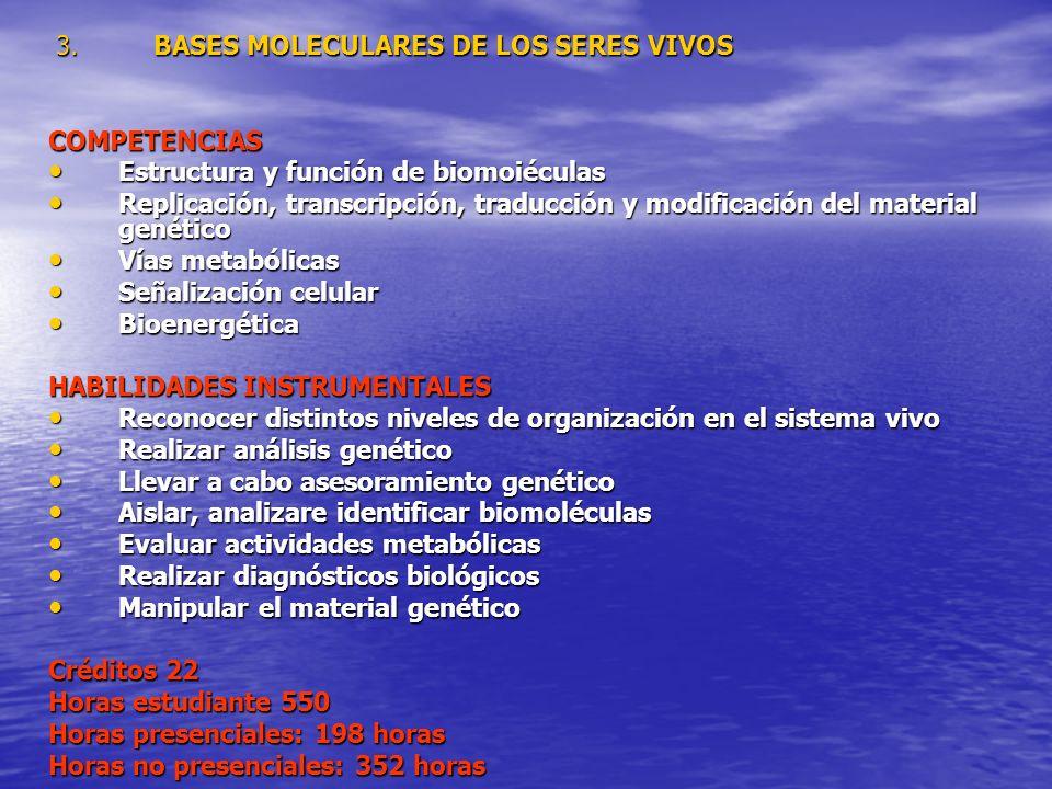3. BASES MOLECULARES DE LOS SERES VIVOS