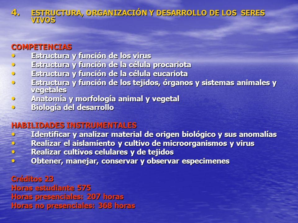 ESTRUCTURA, ORGANIZACIÓN Y DESARROLLO DE LOS SERES VIVOS
