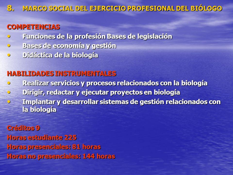 MARCO SOCIAL DEL EJERCICIO PROFESIONAL DEL BIÓLOGO
