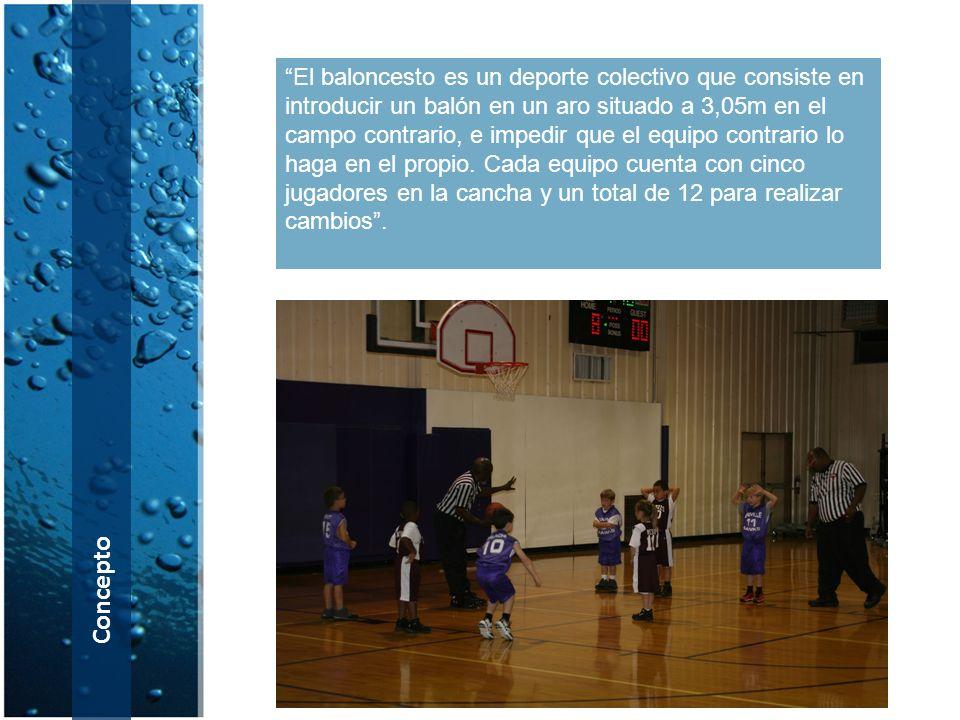 El baloncesto es un deporte colectivo que consiste en introducir un balón en un aro situado a 3,05m en el campo contrario, e impedir que el equipo contrario lo haga en el propio. Cada equipo cuenta con cinco jugadores en la cancha y un total de 12 para realizar cambios .