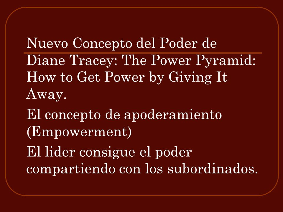 Nuevo Concepto del Poder de Diane Tracey: The Power Pyramid: How to Get Power by Giving It Away.
