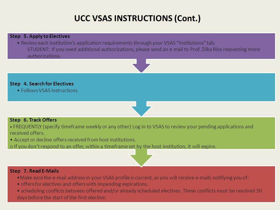 UCC VSAS INSTRUCTIONS (Cont.)