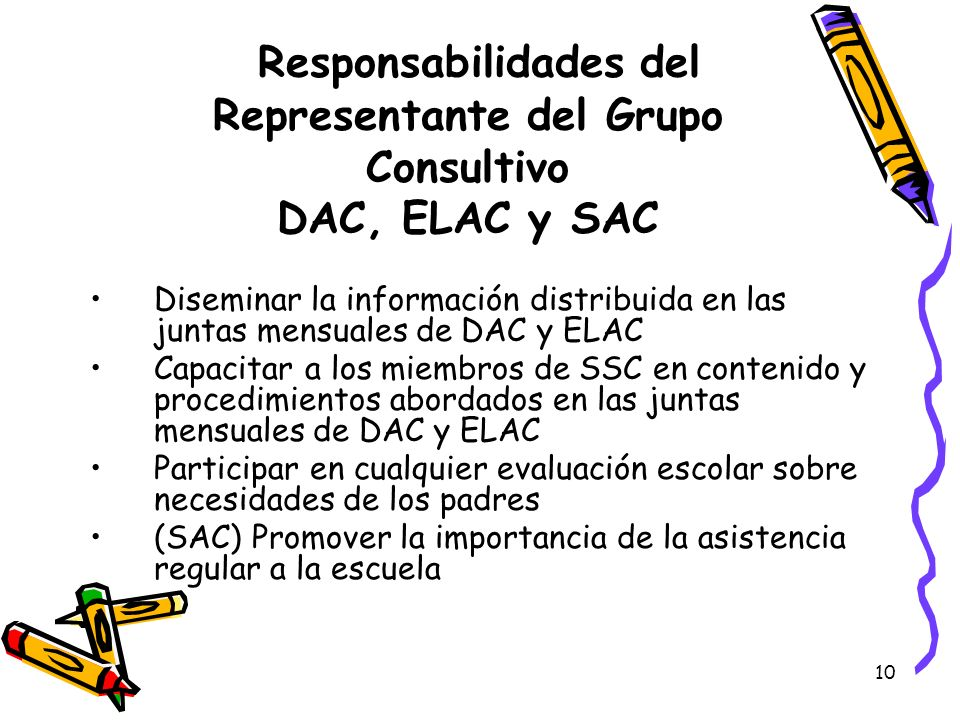 Responsabilidades del Representante del Grupo Consultivo DAC, ELAC y SAC