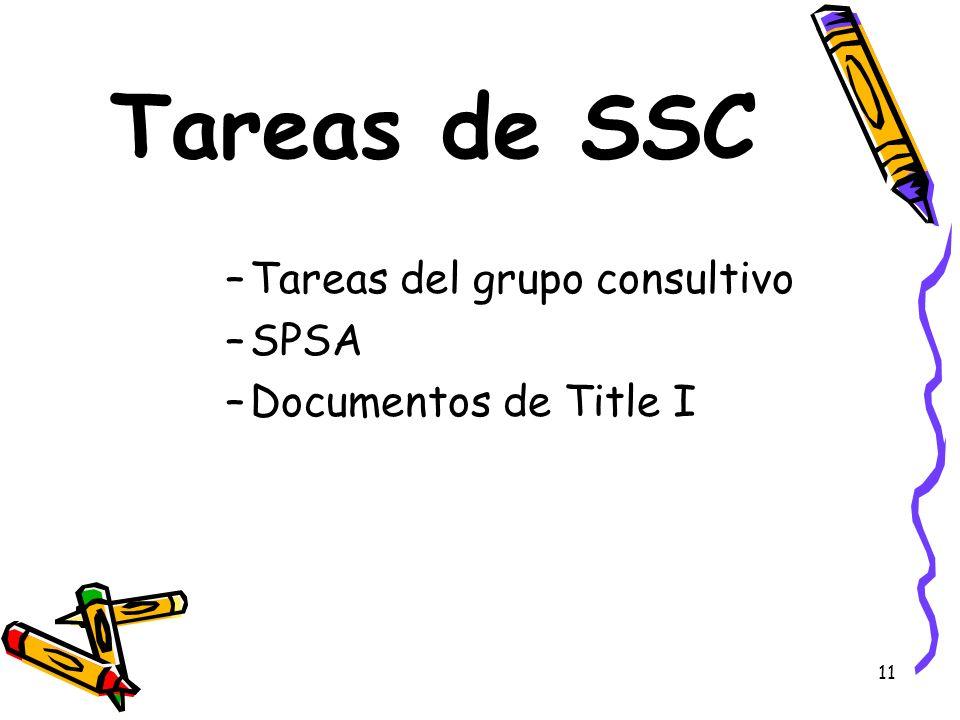 Tareas de SSC Tareas del grupo consultivo SPSA Documentos de Title I