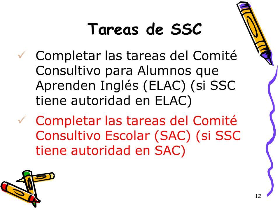 Tareas de SSCCompletar las tareas del Comité Consultivo para Alumnos que Aprenden Inglés (ELAC) (si SSC tiene autoridad en ELAC)