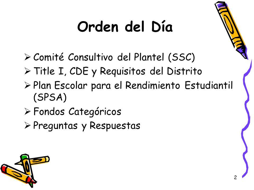 Orden del Día Comité Consultivo del Plantel (SSC)