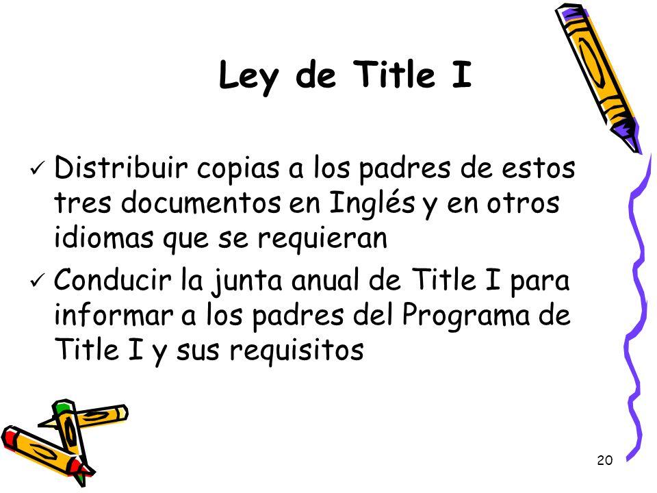 Ley de Title IDistribuir copias a los padres de estos tres documentos en Inglés y en otros idiomas que se requieran.