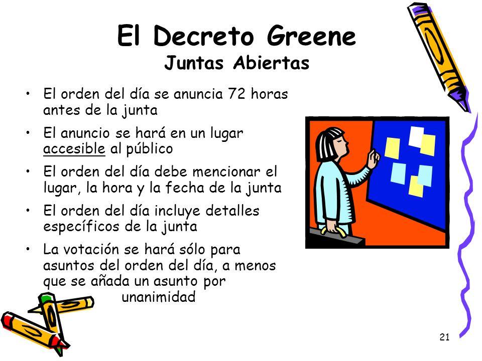 El Decreto Greene Juntas Abiertas