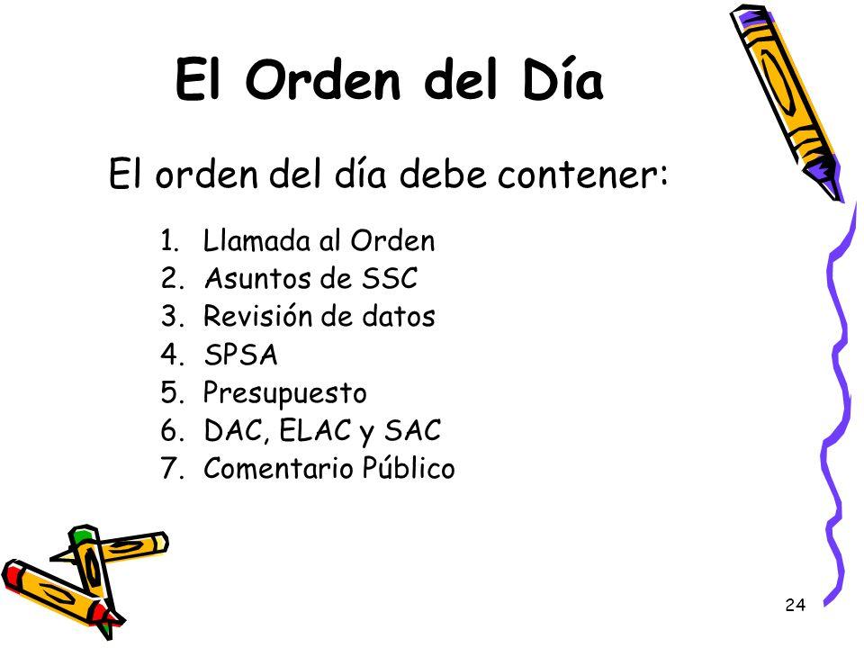 El Orden del Día El orden del día debe contener: Llamada al Orden