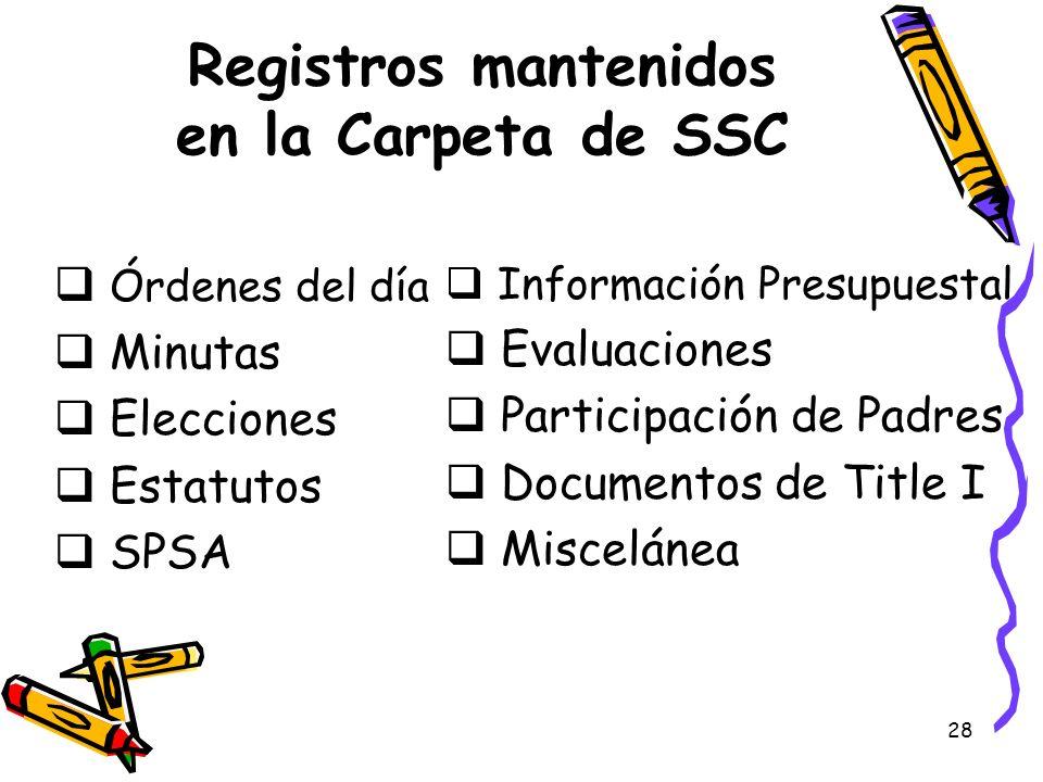Registros mantenidos en la Carpeta de SSC