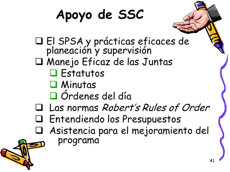Apoyo de SSC El SPSA y prácticas eficaces de planeación y supervisión