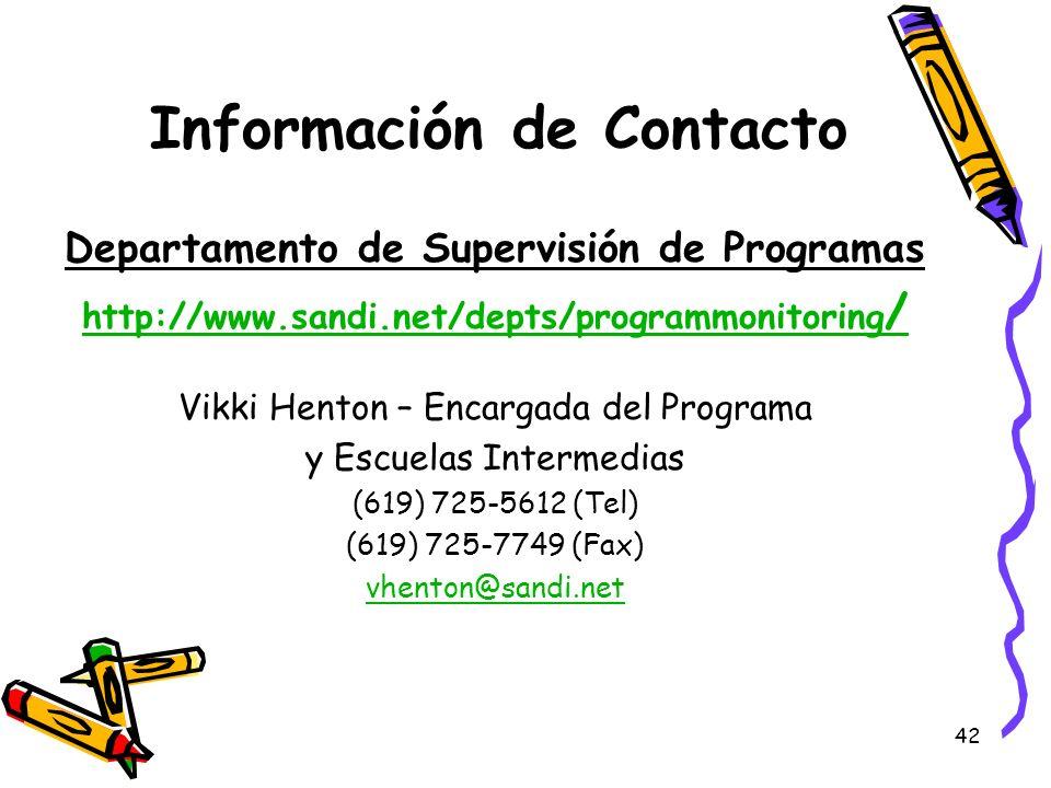 Información de Contacto Departamento de Supervisión de Programas