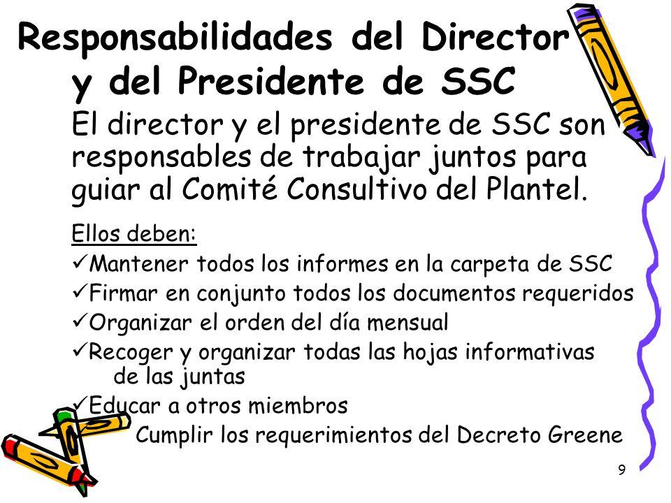 Responsabilidades del Director y del Presidente de SSC
