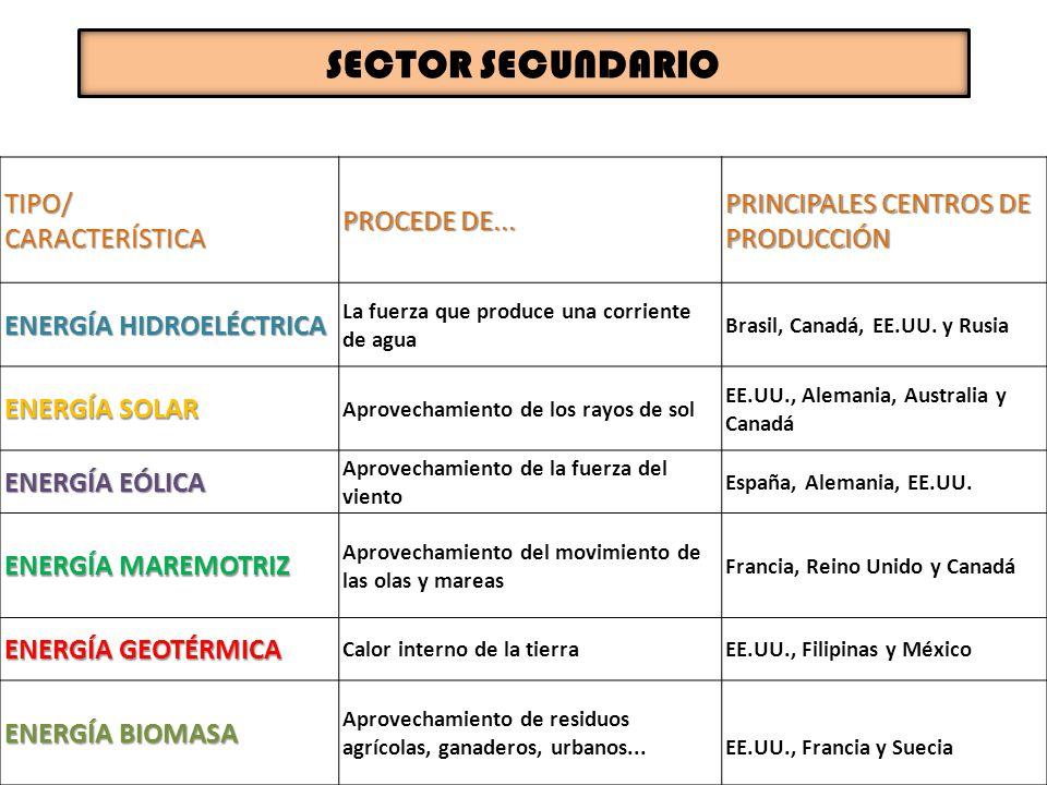 SECTOR SECUNDARIO TIPO/ CARACTERÍSTICA PROCEDE DE...