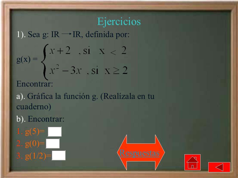 Ejercicios Respuestas 1). Sea g: IR IR, definida por: g(x) =
