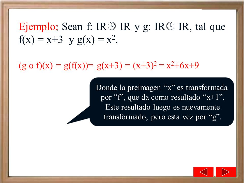 Ejemplo: Sean f: IR IR y g: IR IR, tal que f(x) = x+3 y g(x) = x2.
