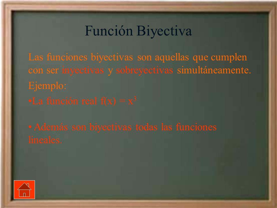 Función Biyectiva Las funciones biyectivas son aquellas que cumplen con ser inyectivas y sobreyectivas simultáneamente.