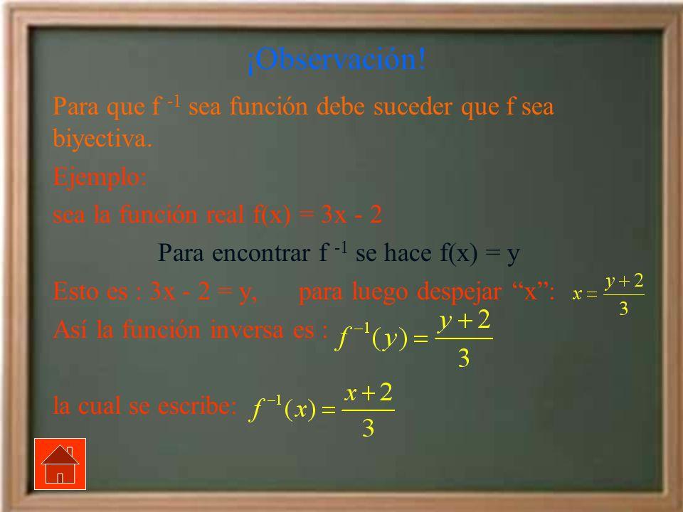 Para encontrar f -1 se hace f(x) = y