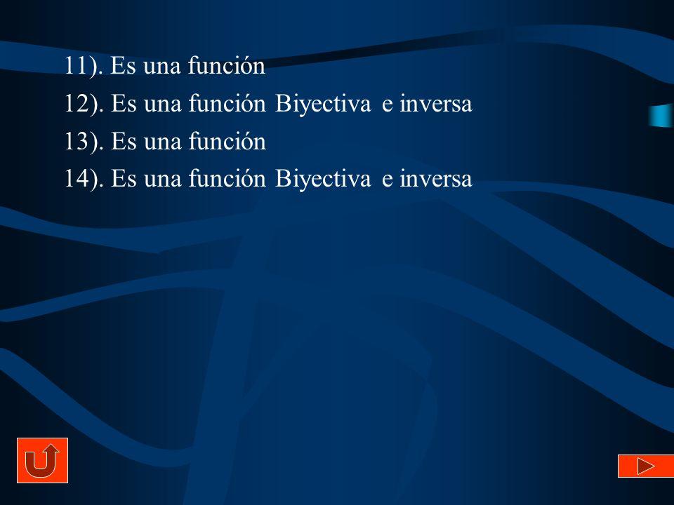 11). Es una función 12). Es una función Biyectiva e inversa.