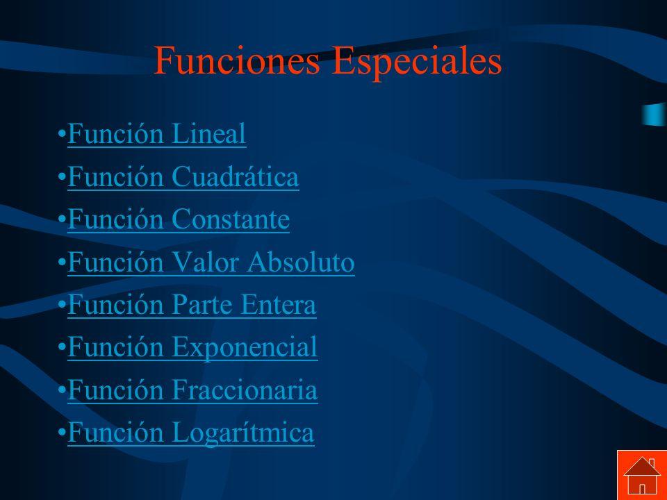 Funciones Especiales Función Lineal Función Cuadrática
