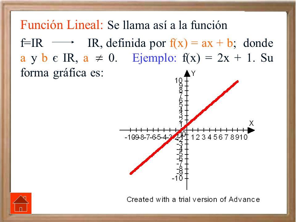 Función Lineal: Se llama así a la función