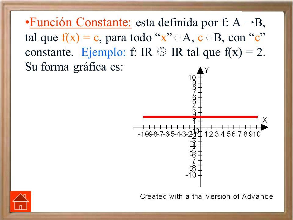 Función Constante: esta definida por f: A B, tal que f(x) = c, para todo x A, c B, con c constante.