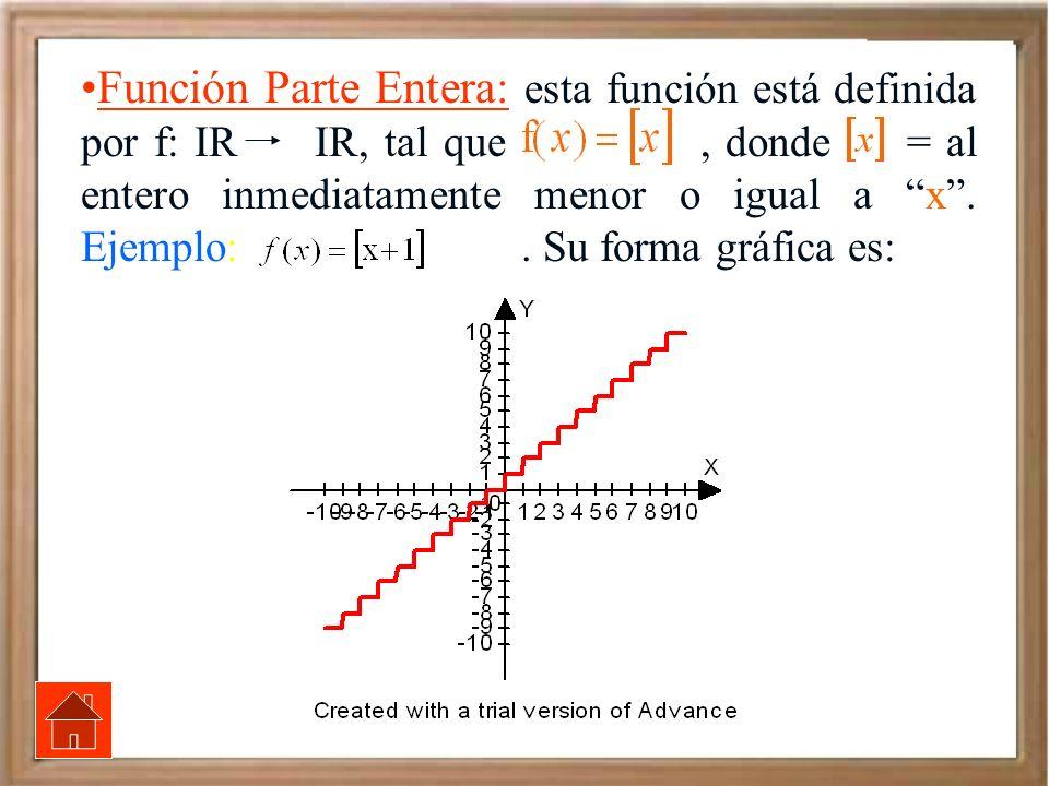Función Parte Entera: esta función está definida por f: IR IR, tal que , donde = al entero inmediatamente menor o igual a x .