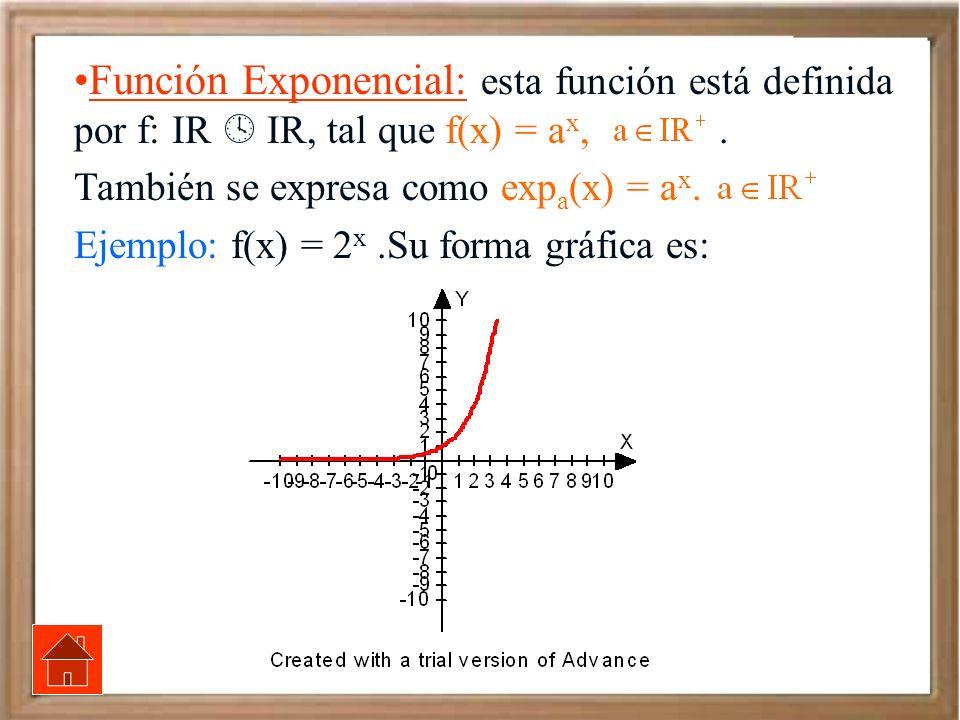 Función Exponencial: esta función está definida por f: IR  IR, tal que f(x) = ax, .