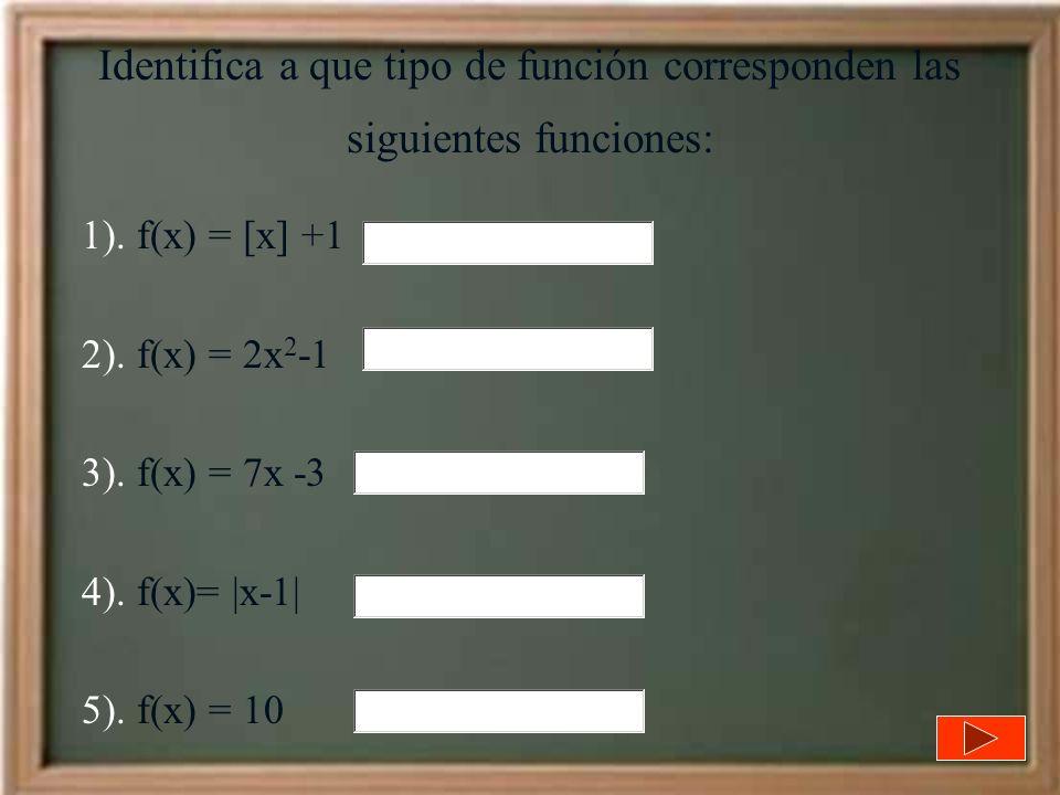 Identifica a que tipo de función corresponden las siguientes funciones: